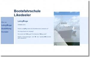 Die alte Webseite der Bootsfahrschule Likedeeler